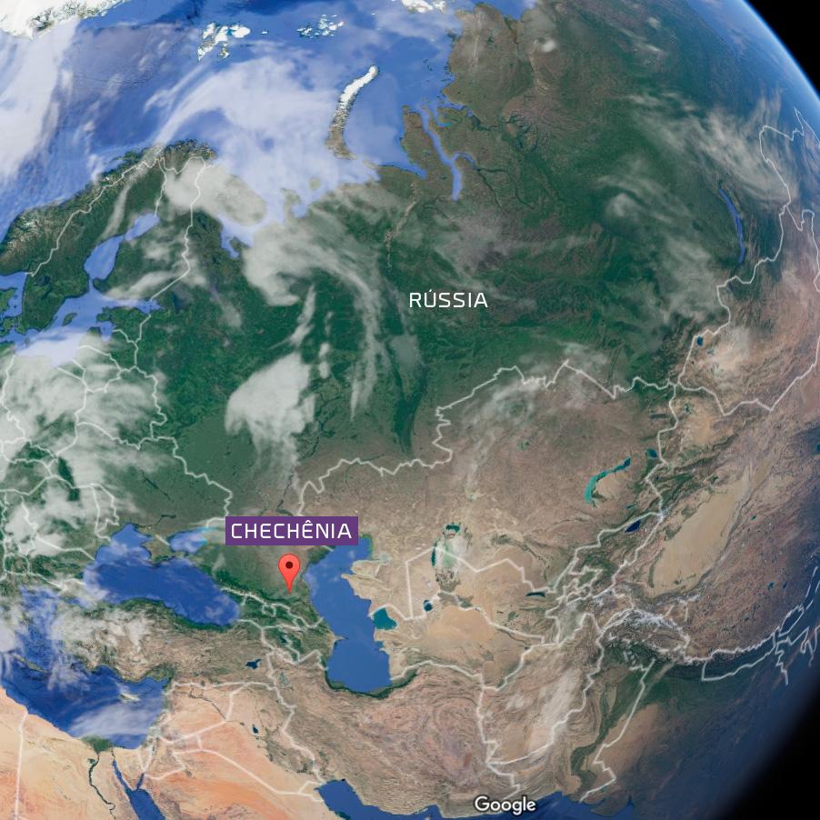A Chechênia fica localizada no Distrito Federal do Sul, região das montanhas do norte do Cáucaso (Foto: Reprodução Google Maps)