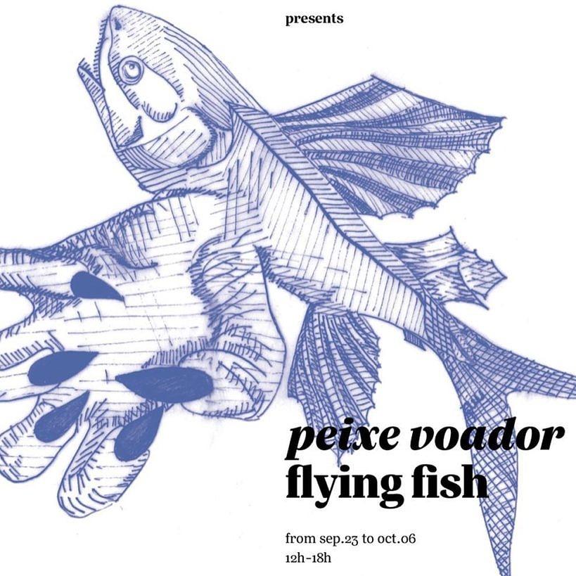"""Arte de divulgação da exposição """"Peixe Voador""""."""