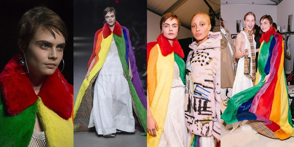 Cara Delevingne, que teve uma de suas primeiras campanhas na Burberry, fecha o desfile com uma capa nas cores LGBTQ+ (Fotos: Reprodução)