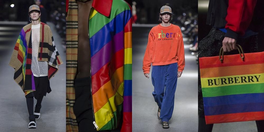 O símbolo do orgulho LGBTQ+ foi aplicado em ponchos, sneakers, bolsas e até na logo da Burberry (Fotos: Reprodução)