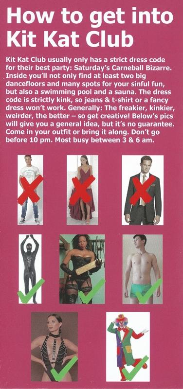 Manual de dicas sobre como se vestir para conseguir entrar na Kit Kat, em Berlim (Foto; Reprodução)