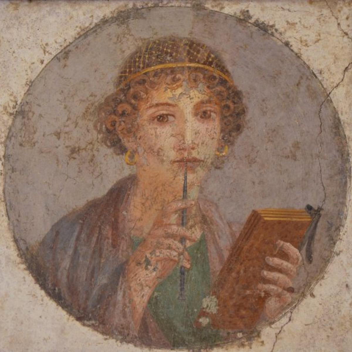 Safo de Lesbos representada em afresco romano do ano 50 d.C. e redescoberto em 1760 (Foto: Museu Arqueológico de Napoles | Reprodução)