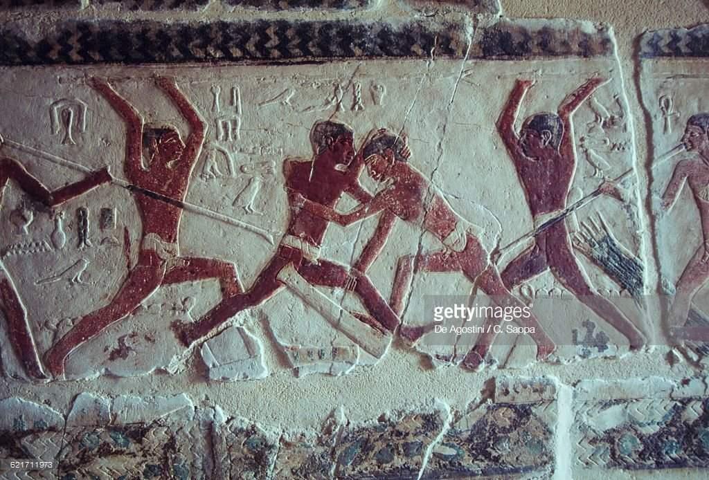 Cena de pesca retratada no túmulo de Khnumhotep e Niankhkhnum (Foto: Getty Images | Reprodução)