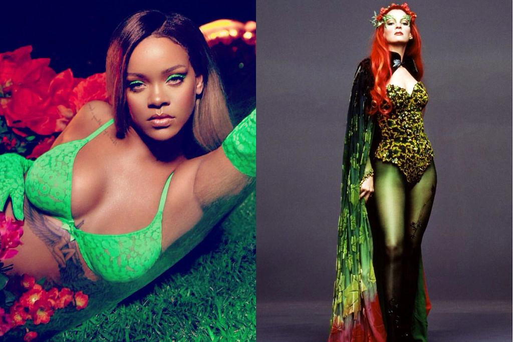 Rihanna em sua versão Poison Ivy ao lado da inspiração vívida por Uma Thurman em filme de Tim Burton (Foto: Reprodução)