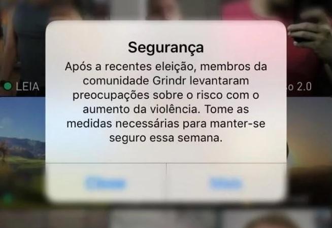Alerta de segurança exibido na tela inicial do Grindr (Foto: Reprodução)