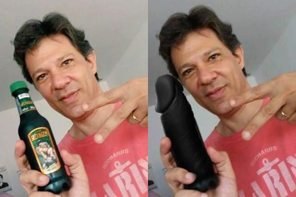 À esquerda, Fernando Haddad segurando garrafa de catuaba; à direita, imagem manipulada na qual o candidato do PT é visto com um pênis de borracha na mão (Foto: Reprodução)