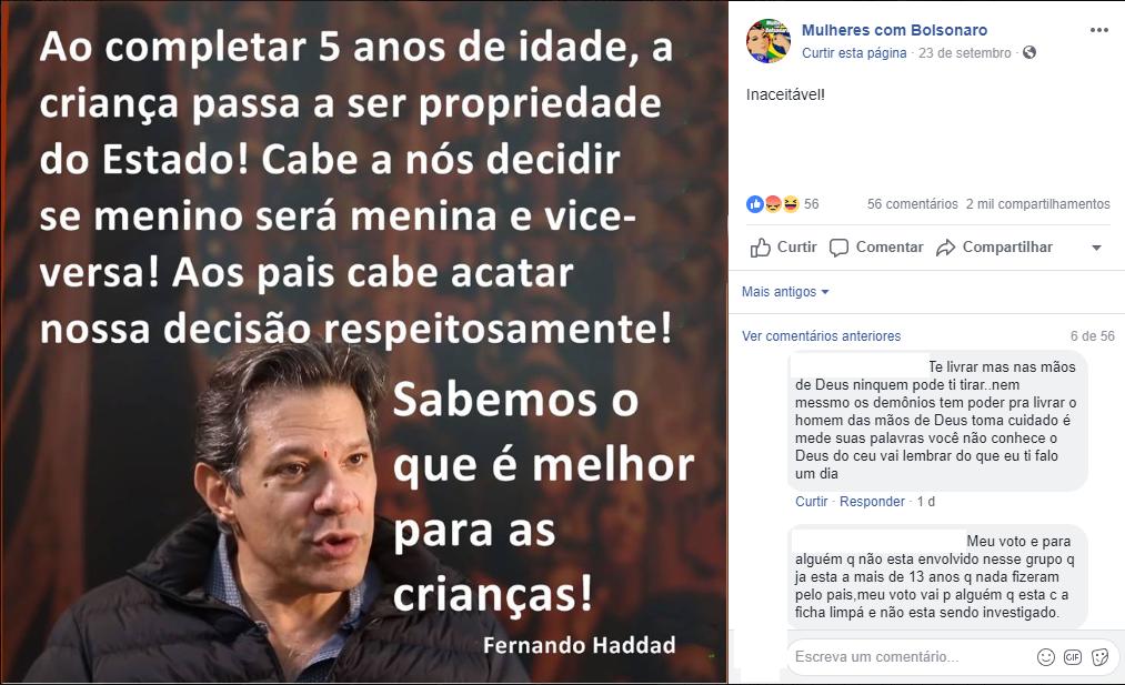 Fala de Fernando Haddad sobre decidir o gênero de crianças de 5 anos é falsa (Foto: Reprodução Facebook)