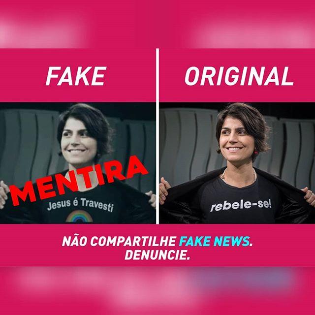 """Foto de Manuela D'Ávila usando camiseta com estampa de """"Jesus é travesti"""" foi manipulada para criar fake news contra a candidata (Foto: Reprodução Instagram)"""