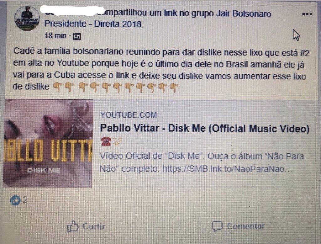 No Facebook, grupo de eleitores de Bolsonaro organiza mutirão para boicotar clipes de Pabllo Vittar (Foto: Reprodução Twitter)