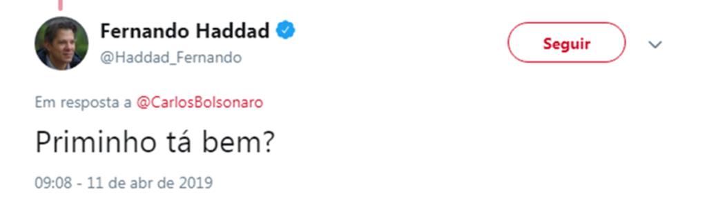 No Twitter, Fernando Haddad pergunta a Carlos Bolsonaro sobre suposto caso com o primo (Foto: Reprodução)