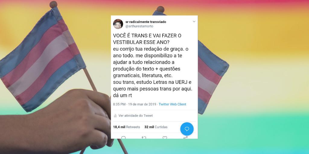 No Twitter, o estudante Arthur Ramos ofereceu corrigir as redações de alunos trans gratuitamente (Foto: Reprodução)