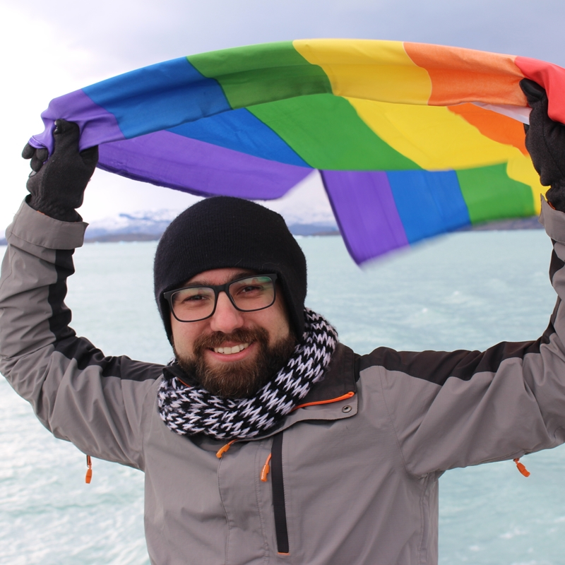Rafael Leick, do Viaja Bi!, no Parque Nacional Los Glaciares, na Argentina (Foto: Acervo Pessoal)