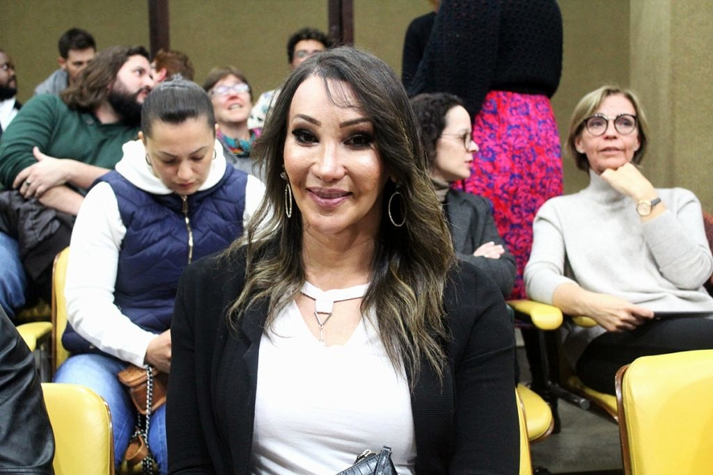 Tifanny Abreu durante audiência pública na Alesp para discutir a presença de atletas trans no esporte (Foto: João Ker | Revista Híbrida)