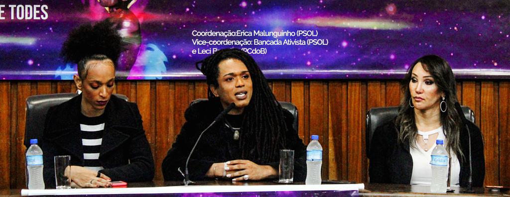 Érika Hilton, Erica Malunguinho e Tifanny Abreu durante audiência pública na Alesp para discutir a presença de atletas trans no esporte (Foto: João Ker | Revista Híbrida)
