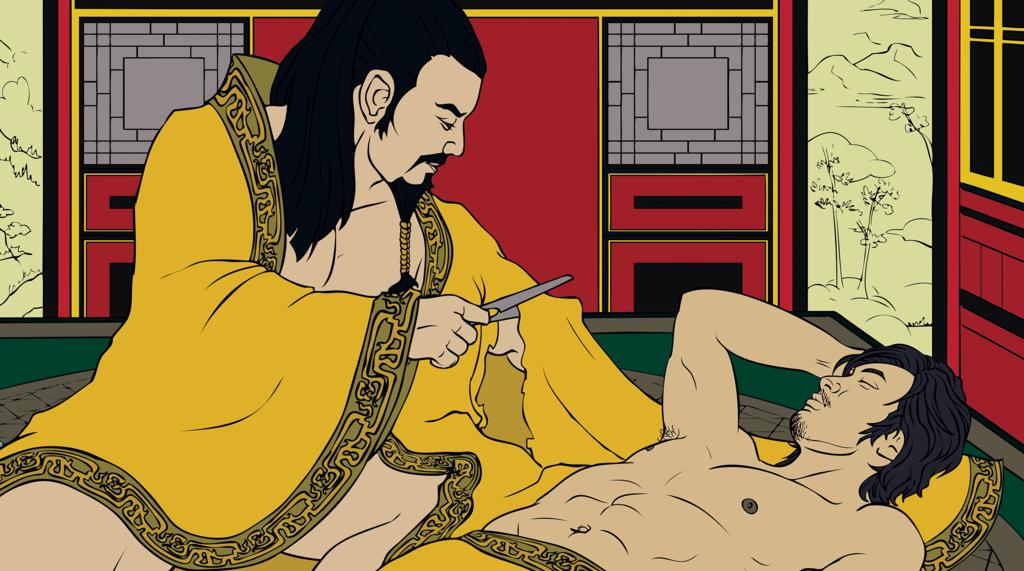 Ilustração do episódio da manga cortada entre o Imperador Ai de Han e Dong Xian