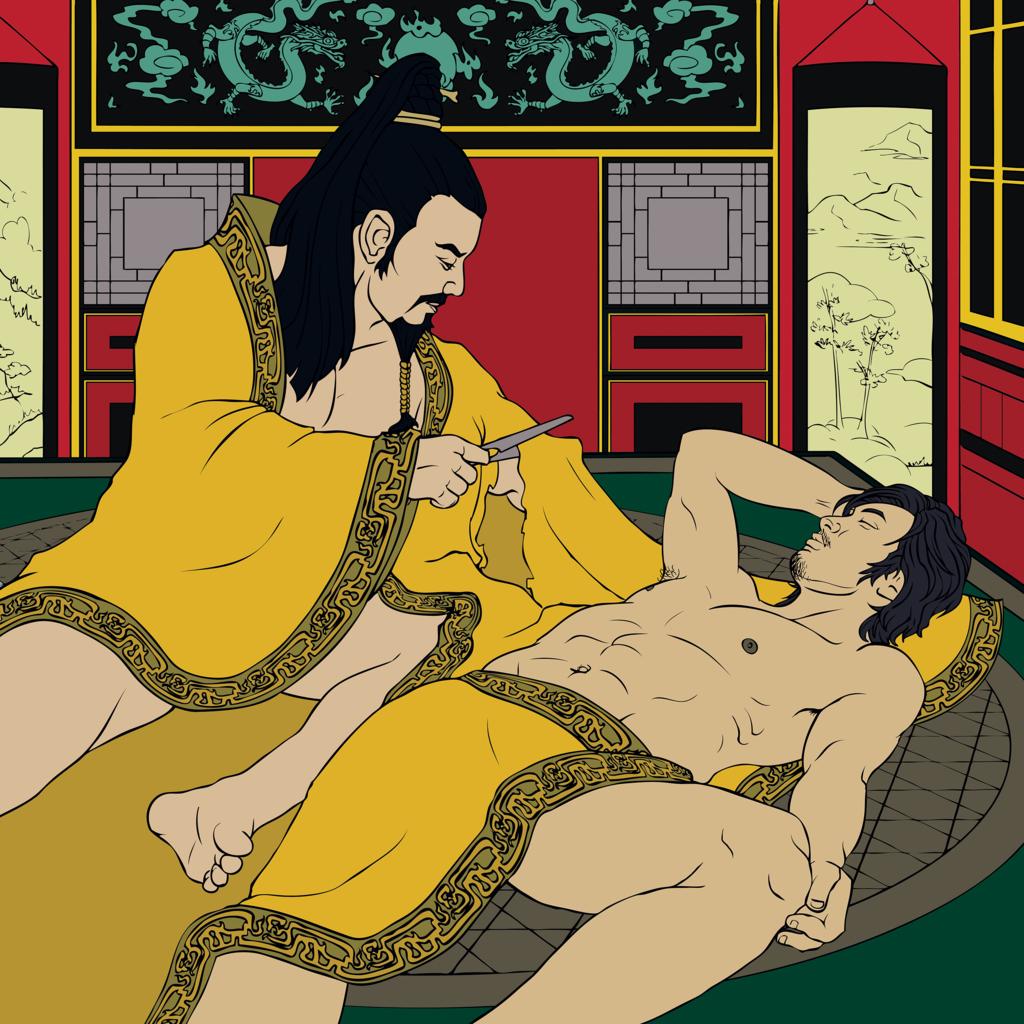 Ilustração do momento em que o Imperador Ai de Han decide cortar a manga de sua roupa para não acordar o amante Don Xian