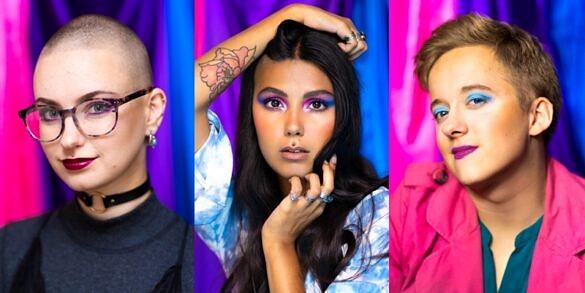 Meg, Meera Rose e Curtis fotografadas para a série especial de Ayla Carli para o Dia da Visibilidade Bissexual (Fotos: Reprodução)