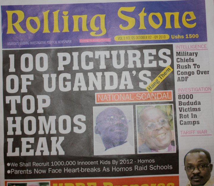 """Jornal """"Rolling Stone"""" publicou lista dos """"100 principais homossexuais da Uganda"""" sob manchete que pedia pelo enforcamento dos mesmos (Foto: Reprodução)"""