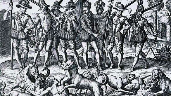 """Cena descrita por Pietro D'Anguiera em """"De Orbe Novo"""", com Vasco Nuñez de Balboa assassinando o irmão de um cacique no Panamá e 40 de seus companheiros por estarem vestidos de mulher, em 1513 (Gravura: Theodor de Bry   Reprodução)"""
