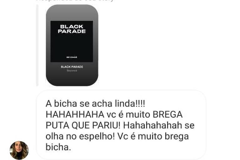 """Print em que Ana Paula aparece chamando Alexandre Alvim de """"bicha"""", encaminhado por ele ao jornal Folha de S. Paulo (Reprodução)"""