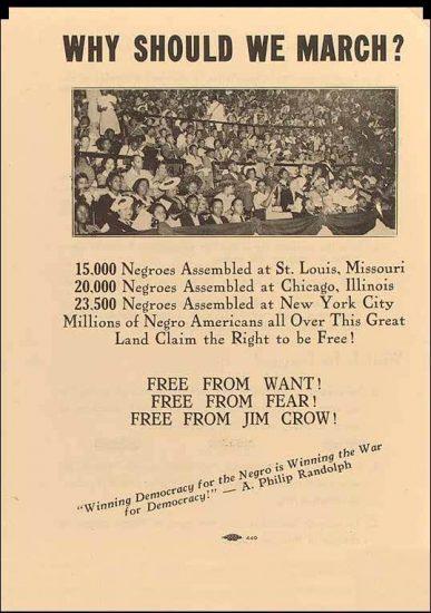 Panfleto distribuído em 1941 com convocação para a Marcha de Washington (Foto: Biblioteca do Congresso do EUA | Reprodução)
