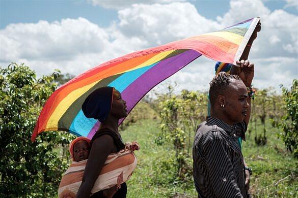 Refugiados sudaneses marcham em protesto por direitos LGBTQ no Quênia, em maio de 2019 (Foto: AFP | Getty Images | Yasuyoshi Chiba)