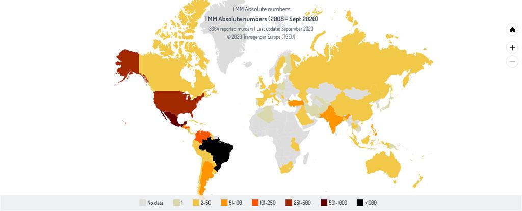 Mapa mundial dos assassinatos trans registrados nos últimos 12 anos (Fonte: Transgender Europe | Transrespect)