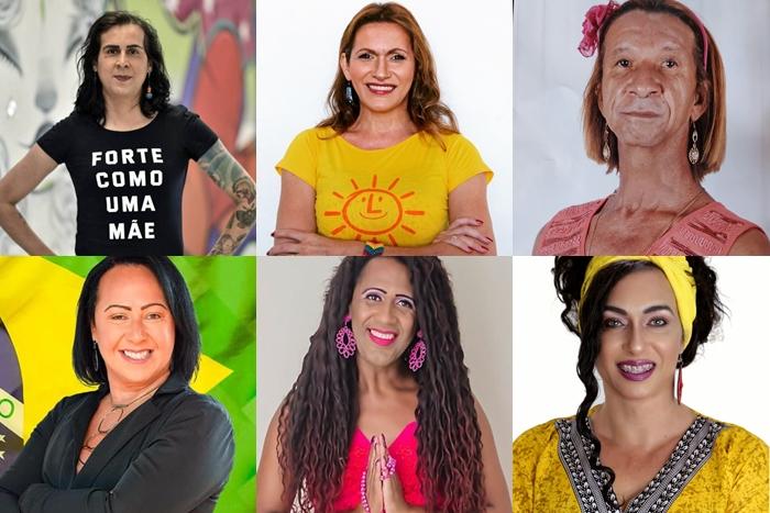 Duda Salabert (PDT), Linda Brasil (PSOL), Lorim de Valéria (PDT), Titia Chiba (PSB), Dandara (MDB) e Tieta Melo (MDB) foram as vereadoras mais votadas no ranking geral, entre homens e mulheres, nas suas respectivas cidades (Foto: Reprodução)
