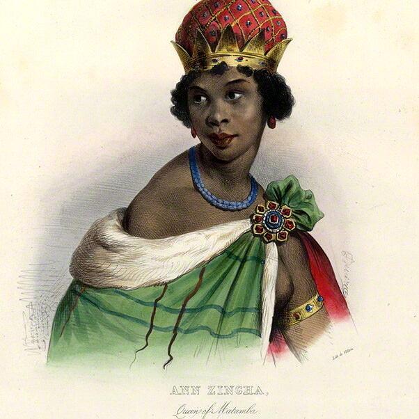 Retrato daa rainha Nzinga Mbandi reproduzido por litografia (Foto: Reprodução)