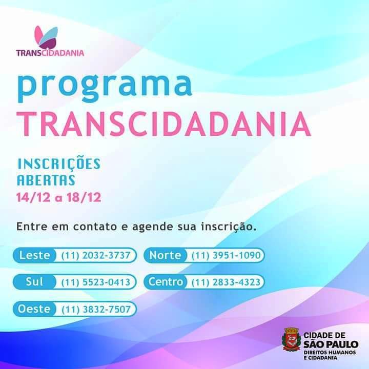Prefeitura de São Paulo abre 510 vagas para o programa Transcidadania em 2020 (Foto: Divulgação)