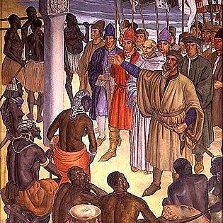 Ilustração da chegada de Diogo Cão ao território de Namíbia no século XV (Foto: Reprodução)