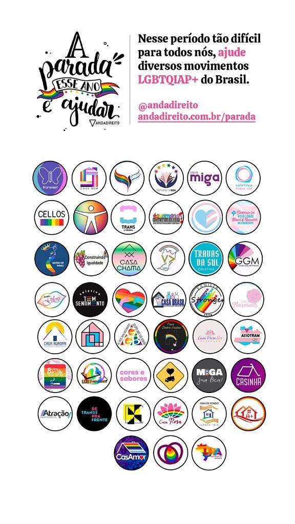 """Campanha """"A parada esse ano é ajudar"""" da plataforma Anda Direito reúne 45 movimentos em prol da comunidade LGBTI+ (Foto: Divulgação)"""