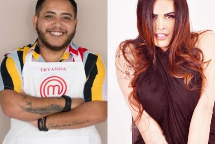 Tryanda Verenna, o primeiro homem trans a disputar o MasterChef, na Band (esq.), e Bianca Soares, participante da 4ª edição da Casa dos Artistas, no SBT (Fotos: Divulgação)
