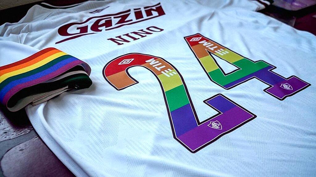 Camisa do Fluminense customizada, com lucro revertido para o Grupo Arco-Iris de Cidadania LGBT (Foto: Reprodução)