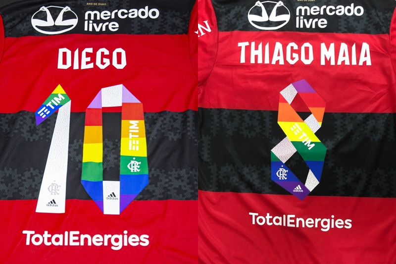 Camisa do Flamengo customizada com as cores do arco-íris e lucro da venda revertido para as ONGs Casa Nem e Manifesta LGBT, de Manaus (Foto: Reprodução)