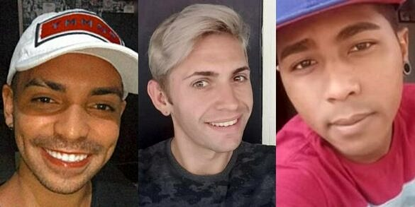 Pedro Diego Antão, Leandro Louback e David da Silva Santos morreram no último domingo (30), vítimas de homofobia (Fotos: Reprodução)
