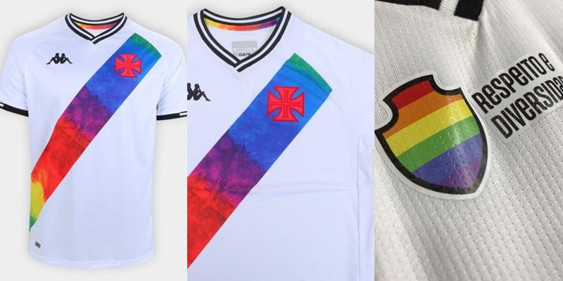 Detalhes da nova camisa do Vasco da Gama customizada com as cores do arco-íris LGBTI+ (Fotos: Divulgação)