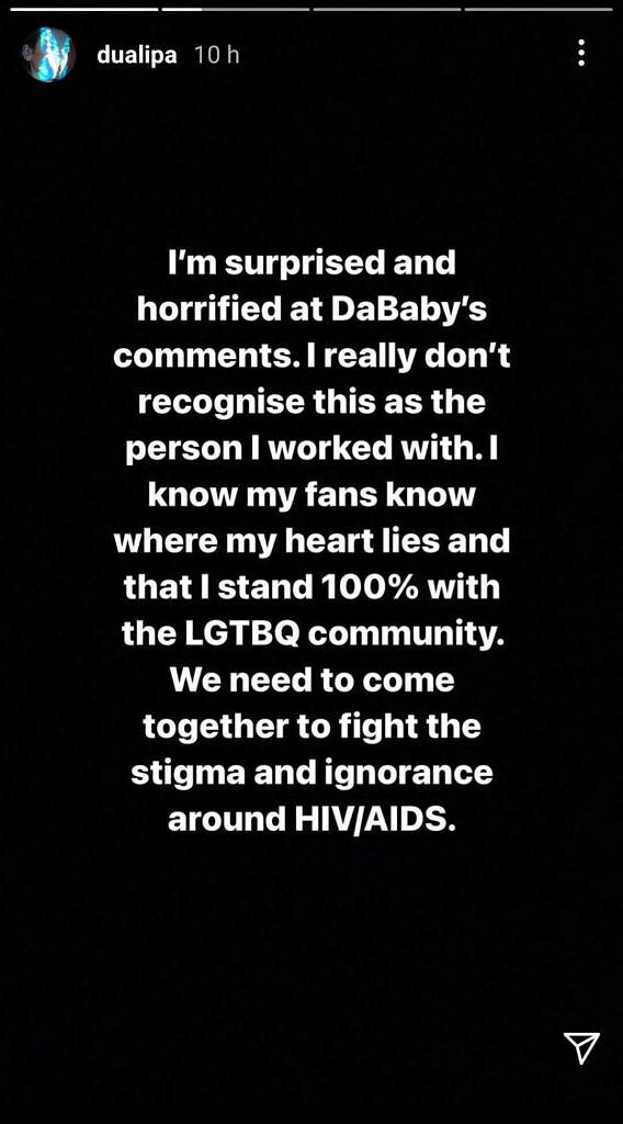 Dua Lipa se posicionou em seu Instagram contra as falas homofóbicas de DaBaby (Foto: Reprodução)