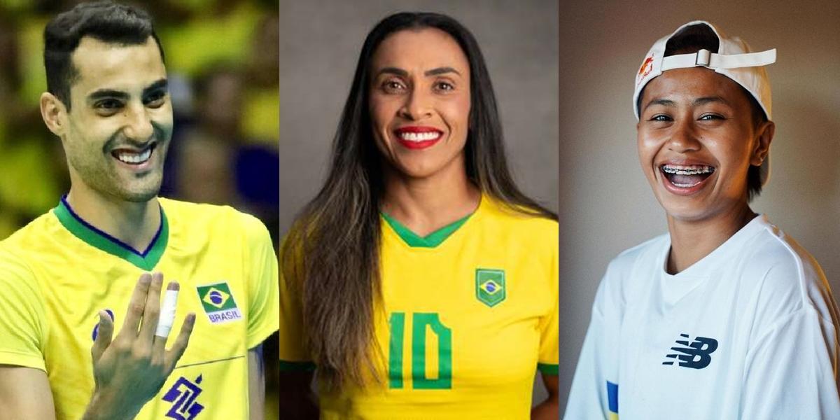 Olímpiadas da Diversidade: Tóquio 2021 tem recorde de atletas abertamente LGBTI+; na foto, os brasileiros Douglas Souza (vôlei), Marta (futebol) e a filipina Margie Didal (skate)