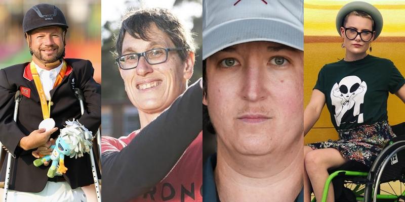 Lee Pearson (esq.) é o único homem entre os 31 paratletas LGBTI+; Maria Strong, Laura Goodkind e Robyn Lambird representam a comunidade não-binárie