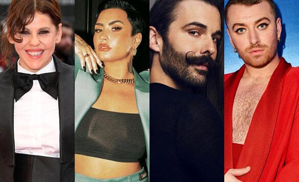 Bárbara Paz, Demi Lovato, Jonathan Van Ness e Sam Smith são alguns dos artistas que deram declarações se identificando como não-binaries (Foto: Reprodução)